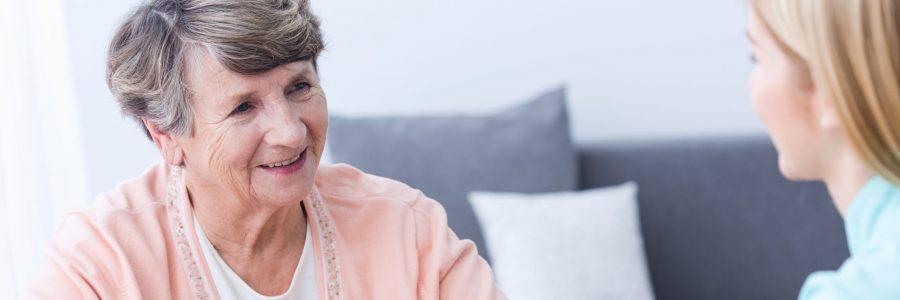 Senior happy elegant woman in nursing home